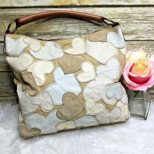 Lucky Brand Beige Heart Patchwork Leather Hobo Bag